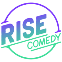 RISE Comedy Logo - Purple/Green Gradient